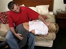 He hauls her over his knee for an otk spanking