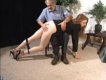 Her bare bottom spanking