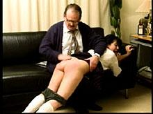 He positions her for otk spanking