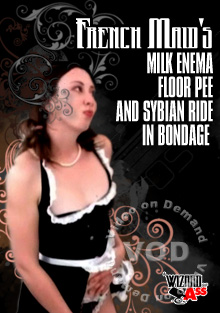 French Maid's Milk Enema Floor Pee and Sybian Ride In Bondage